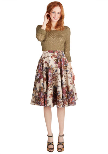 Ikebana for All Skirt in Bouquets by Myrtlewood - Long, Woven, Floral, Work, A-line, Fall, Brown, Multi, Exclusives, Private Label, Press Placement, Full