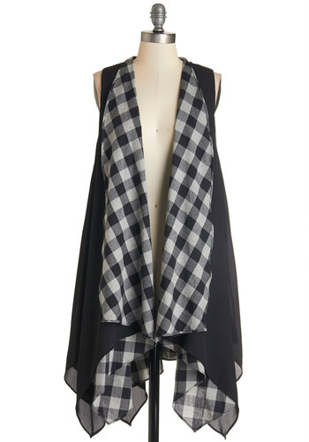 Viola Voilà Vest - Long, Woven, Black, White, Solid, Checkered / Gingham, Handkerchief, Casual, Sleeveless