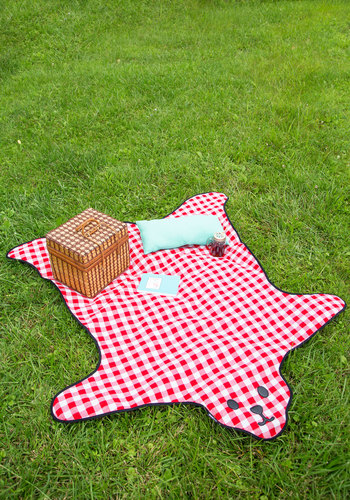 Bear and Wine Picnic Blanket - Red, Quirky, Better, White, Checkered / Gingham, Critters