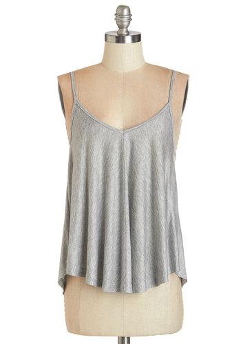 Lounging in Loveliness Top in Grey - Mid-length, Jersey, Knit, Grey, Solid, Casual, Spaghetti Straps, Variation, Grey, Sleeveless