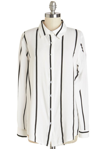 Downtempo DJ Top - Long, Cotton, Sheer, Woven, Black, White, Stripes, Buttons, Work, Casual, Menswear Inspired, Long Sleeve, Collared