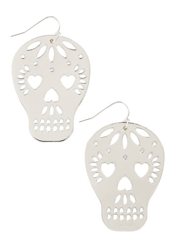 Too Close to Skull Earrings in Silver