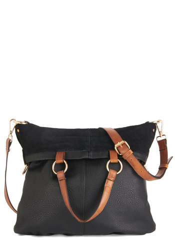 Hip as Can Be Bag - Black, Solid, Buckles, Vintage Inspired, 90s, Leather, Brown
