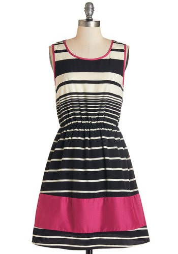 Punch on the Porch Dress - Stripes, Casual, A-line, Sleeveless, Woven, Good, Scoop, Mid-length, Multi, Pink, Black, White