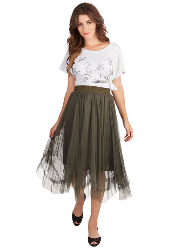 Musical Muse Skirt - Midi, Fall, Tulle, Better, Green, Mid-length, Green, Solid, Party