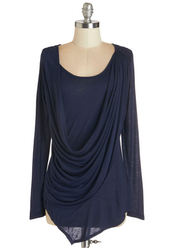 Draped in Delight Long-Sleeved Top in Dusk - Blue, Solid, Casual, Long Sleeve, Fall, Variation, Blue, Long Sleeve, Cowl, Knit