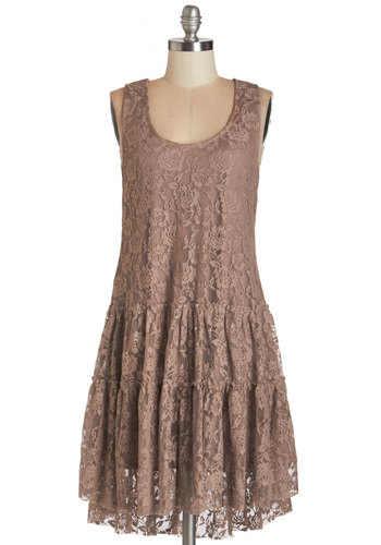 Chipper By the Dozen Dress - Tan, Solid, Lace, Casual, Boho, Drop Waist, Sleeveless, Lace, Good, Scoop, Mid-length, Party