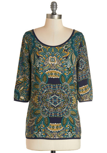Merry Music Making Top - Mid-length, Multi, Print, Trim, Casual, 3/4 Sleeve, Scoop