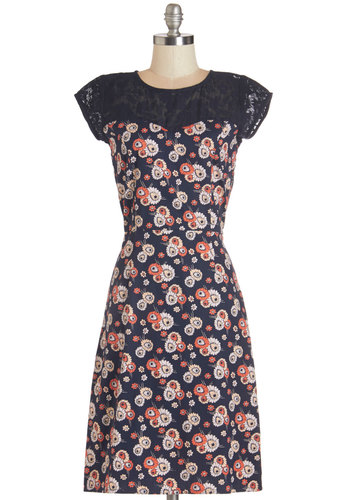 Sprout onto the Scene Dress by Mata Traders - Blue, White, Coral, Floral, Daytime Party, Shift, Cap Sleeves, Lace, Cotton, Woven, Long