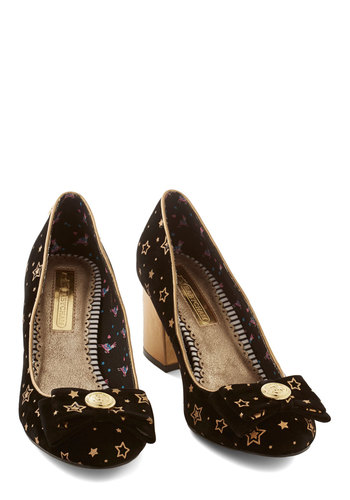The Only Galaxy for Me Heel in Astronomer - Mid, Black, Gold, Novelty Print, Print, Bows, Buttons, Statement, Quirky, Sci-fi, Better, Chunky heel, Variation