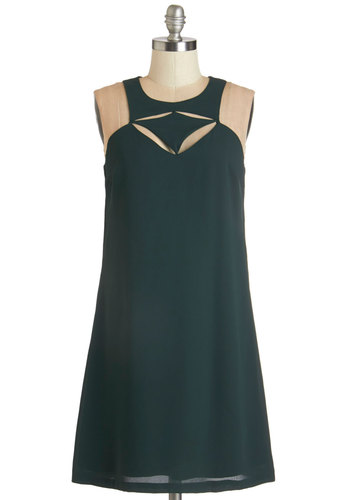 Dynamic Dessert Dress - Green, Solid, Cutout, Girls Night Out, Shift, Sleeveless, Woven, Better, Mid-length