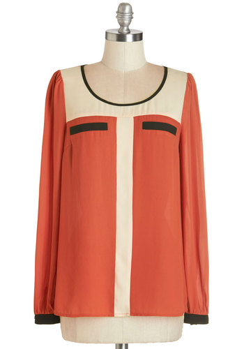 Bold My Calls Top - Work, Red, Tan / Cream, Black, Vintage Inspired, 60s, Colorblocking, Long Sleeve, Scoop, Mid-length