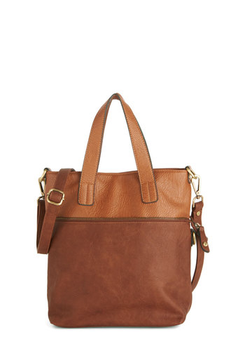 The Nouveau You Bag - Brown, Solid, Safari, Travel, Rustic, Faux Leather, Exposed zipper