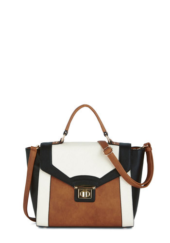 Cents and Sensibility Bag by Melie Bianco - Solid, Buckles, Darling, Multi, Brown, Black, White, Work, Colorblocking, Faux Leather