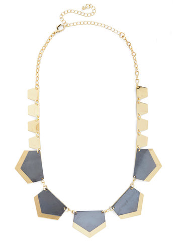 Pop of Posh Necklace - Solid, Chain, Statement, Quirky, Gold, Gals