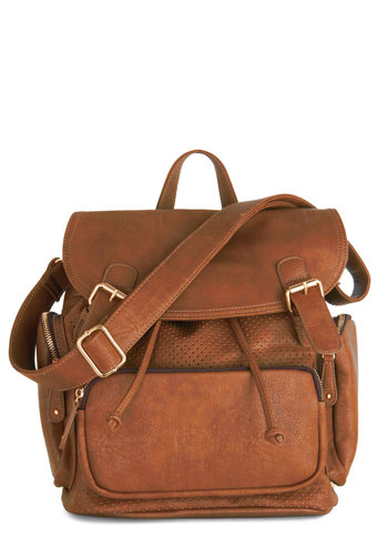 Visualize Victory Backpack in Caramel - Brown, Solid, Buckles, Exposed zipper, Boho, Safari, Travel, Rustic, Minimal, Nifty Nerd, Faux Leather