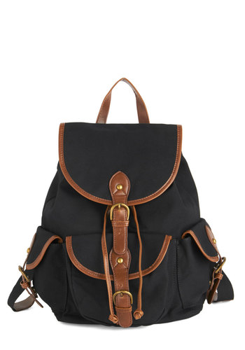 Backpack to the Future Bag in Midnight - Black, Solid, Buckles, Trim, Boho, Safari, Urban, Scholastic/Collegiate, Nifty Nerd, Woven, Brown