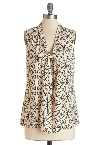 South Florida Spree Top in Geometric - Woven, Cream, Black, Print, Tie Neck, Work, Sleeveless, Variation, Mid-length, Basic
