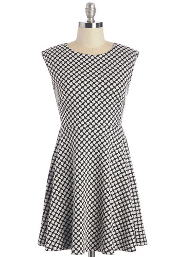 From Here to Square Dress - Black, White, Print, Casual, A-line, Sleeveless, Knit, Better, Scoop, Short, Exposed zipper