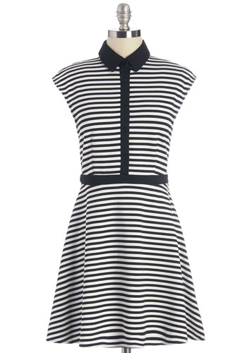 City Saunter Dress - Black, White, Stripes, Buttons, Trim, Casual, A-line, Cap Sleeves, Knit, Better, Collared, Print, Mod, Mid-length