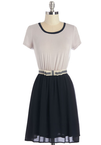 Sweeten the Scene Dress - Belted, Casual, Nifty Nerd, A-line, Fall, Knit, Good, Scoop, Mid-length, Jersey, Woven, Multi, Blue, Tan / Cream, Trim, Nautical, Twofer, Short Sleeves