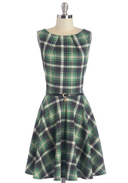 Luck Be a Lady Dress in Green Plaid