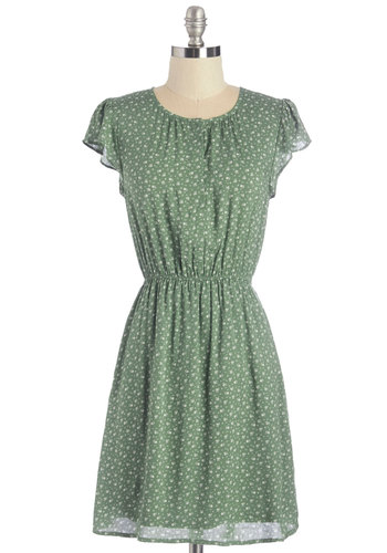 Petal Through the Day Dress - Woven, Green, Floral, Casual, A-line, Pockets, Cap Sleeves, Mid-length