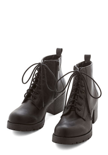 State Park Strut Bootie - Mid, Faux Leather, Black, Solid, Menswear Inspired, Good, Lace Up, Chunky heel