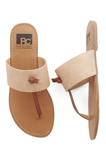 In the Late Night Lights Flat in Peach by BC Footwear - Flat, Faux Leather, Tan, Brown, Solid, Casual, Beach/Resort, Minimal, Better, Variation