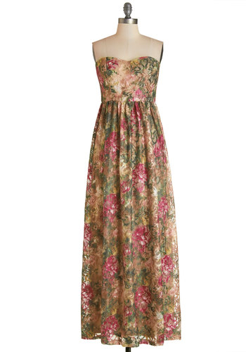 A Chance Romance Dress - Multi, Floral, Lace, Daytime Party, Maxi, Strapless, Better, Sweetheart, Long, Knit, Lace, Boho, Prom, Wedding, Bridesmaid
