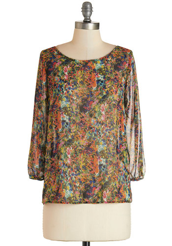 Flash Fete Top in Bright - Mid-length, Sheer, Woven, Multi, Print, Work, 3/4 Sleeve