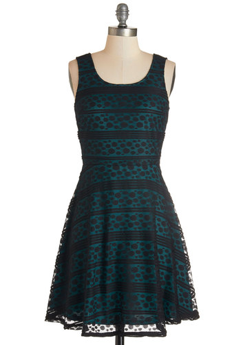 Ain't Life Glam? Dress - Blue, Black, Polka Dots, Stripes, Party, Daytime Party, A-line, Sleeveless, Fall, Woven, Better, Scoop, Mid-length, Lace