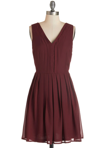 Berry Sangria Dress - Red, Solid, Pleats, Party, A-line, Sleeveless, Fall, Woven, Good, V Neck, Mid-length