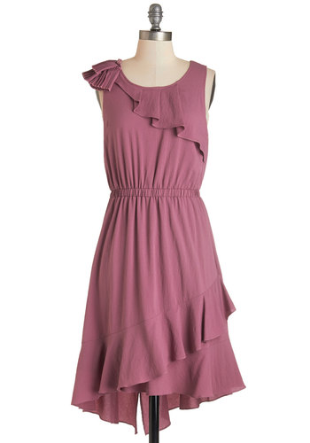 Mauve Along Dress - Solid, Ruffles, Party, A-line, Sleeveless, Fall, Woven, Good, Scoop, Long, Pink