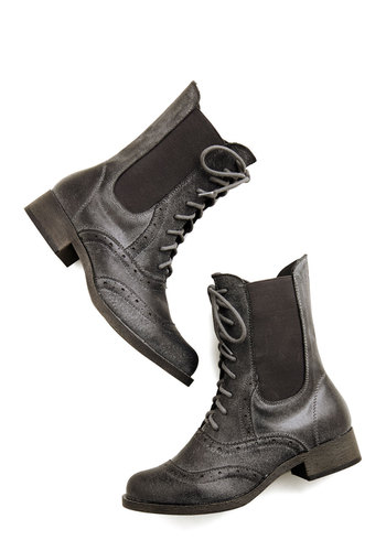 Reason For the Season Boot - Low, Leather, Black, Solid, Menswear Inspired, Vintage Inspired, 20s, Better, Lace Up