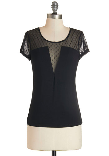 Plunging Perfection Top - Mid-length, Jersey, Sheer, Knit, Black, Solid, Party, Short Sleeves, Scoop