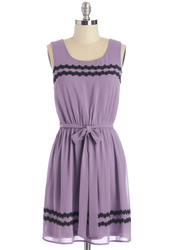 Saved By the Belle Dress - Lavender, Solid, Trim, Casual, A-line, Sleeveless, Woven, Good, Scoop, Mid-length, Black, Daytime Party, Beach/Resort, Graduation