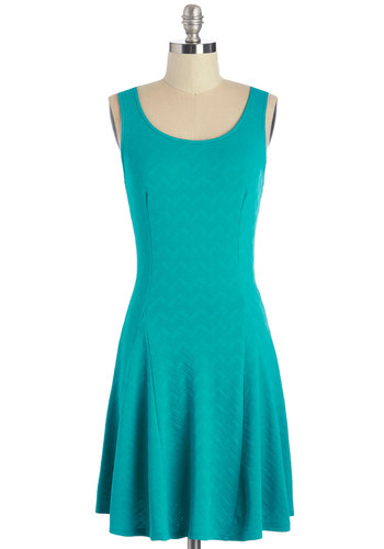 Stunning Simplicity Dress - Solid, Casual, Girls Night Out, A-line, Sleeveless, Knit, Good, Scoop, Blue, Mid-length, Sundress