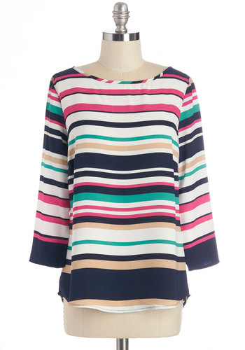 All In Flavor Top - Mid-length, Multi, Stripes, Exposed zipper, Casual, 3/4 Sleeve, Boat