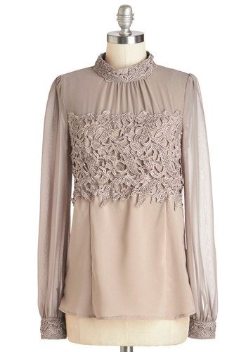 That's More Ladylike It Top - Mid-length, Sheer, Woven, Lace, Tan, Solid, Crochet, Work, Daytime Party, French / Victorian, Long Sleeve