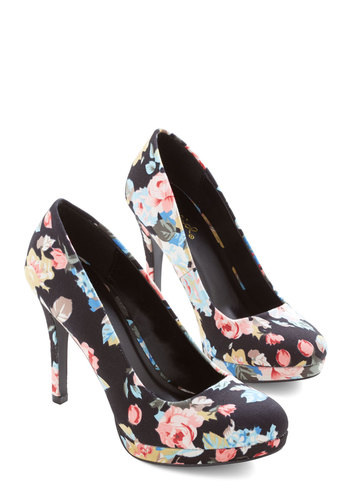 Pump it Up Heel in Floral - High, Woven, Black, Multi, Floral, Wedding, Party, Work, Good