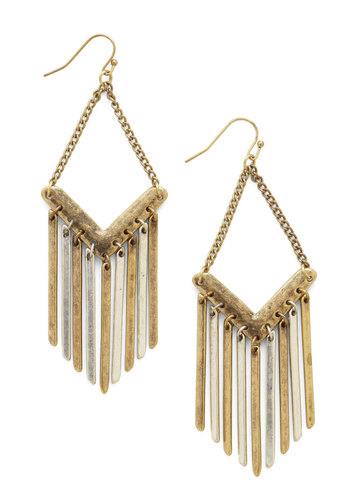 Make a Movement Earrings - Solid, Chain, Tassels, Boho, Statement, Urban, Festival, Gold