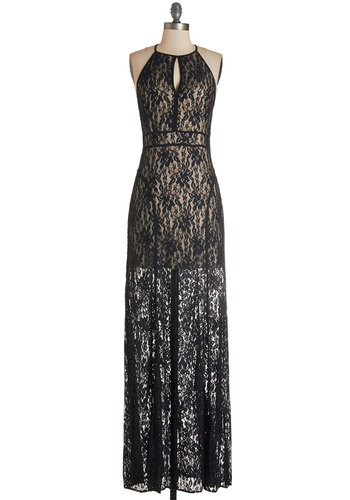Out of a Dream Dress - Long, Knit, Lace, Black, Solid, Special Occasion, Prom, Party, Maxi, Halter, Lace
