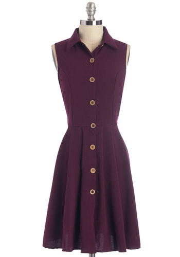 Swing Vote Dress in Acai - Purple, Buttons, Work, Casual, Nifty Nerd, A-line, Sleeveless, Better, Collared, Variation, Knit, Solid, Pockets, Mid-length