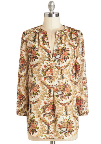 Daylong Date Top in Bouquets - Mid-length, Woven, Multi, Floral, Buttons, Casual, Long Sleeve, Variation
