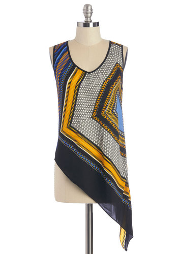 That's the Sway It Is Top - Short, Woven, Multi, Print, Sleeveless, V Neck, Exclusives