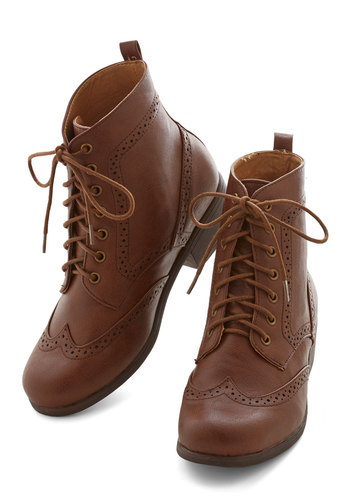 Evening Exploring Boot in Chestnut - Low, Faux Leather, Solid, Menswear Inspired, Vintage Inspired, 20s, 30s, Good, Lace Up, Variation, Brown