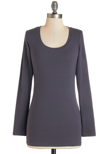 Simply Ink Top in Stone - Mid-length, Cotton, Knit, Grey, Solid, Casual, Long Sleeve, Variation, Basic, Scoop