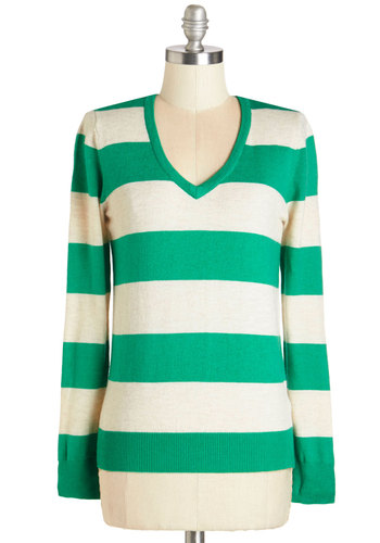 Cafe Chat Sweater - Mid-length, Knit, Green, Tan / Cream, Stripes, Casual, Long Sleeve, V Neck