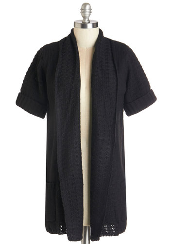 A Novel Evening Cardigan - Knit, Black, Solid, Pockets, Casual, Short Sleeves, Basic
